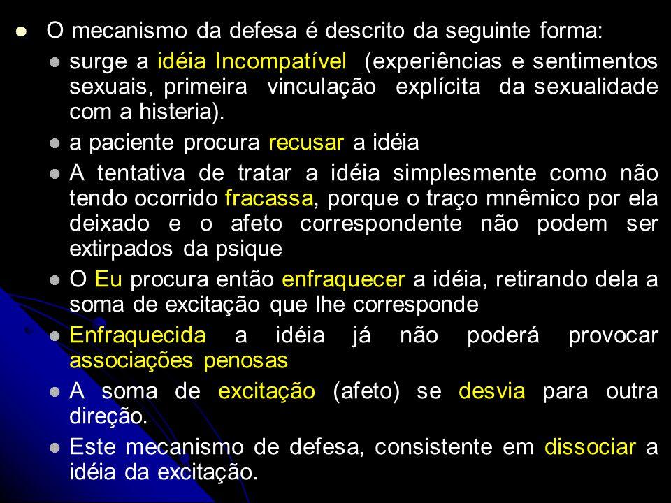 O mecanismo da defesa é descrito da seguinte forma: surge a idéia Incompatível (experiências e sentimentos sexuais, primeira vinculação explícita da s