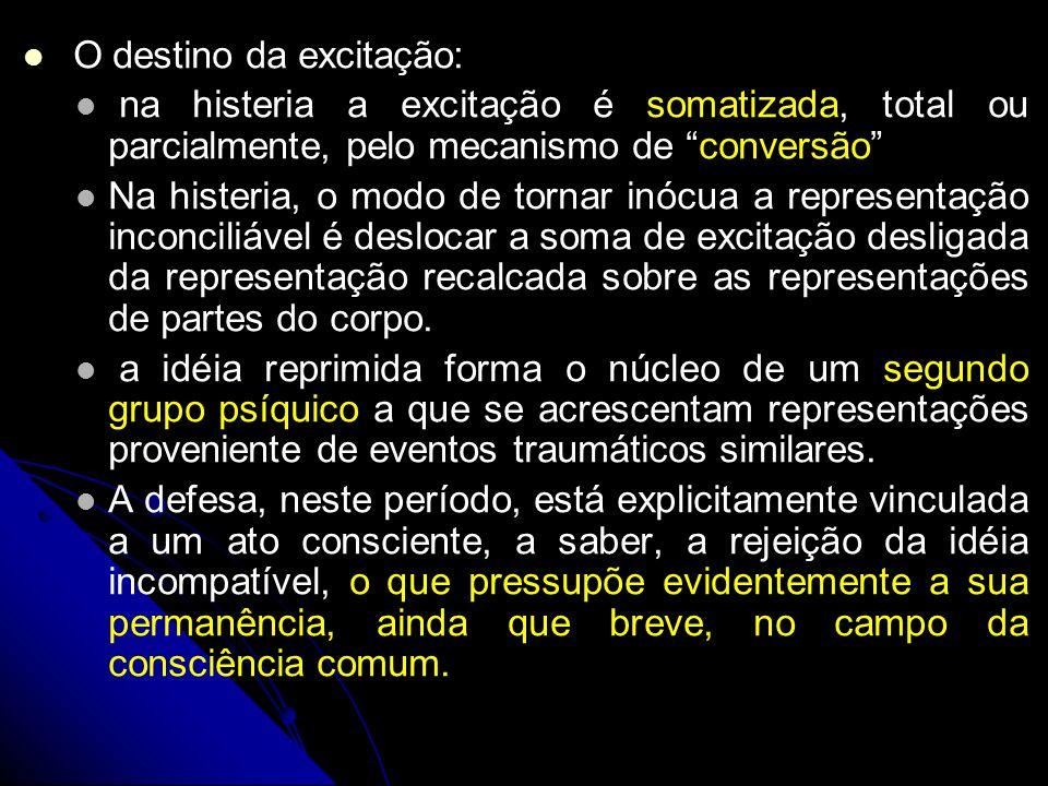 O destino da excitação: na histeria a excitação é somatizada, total ou parcialmente, pelo mecanismo de conversão Na histeria, o modo de tornar inócua