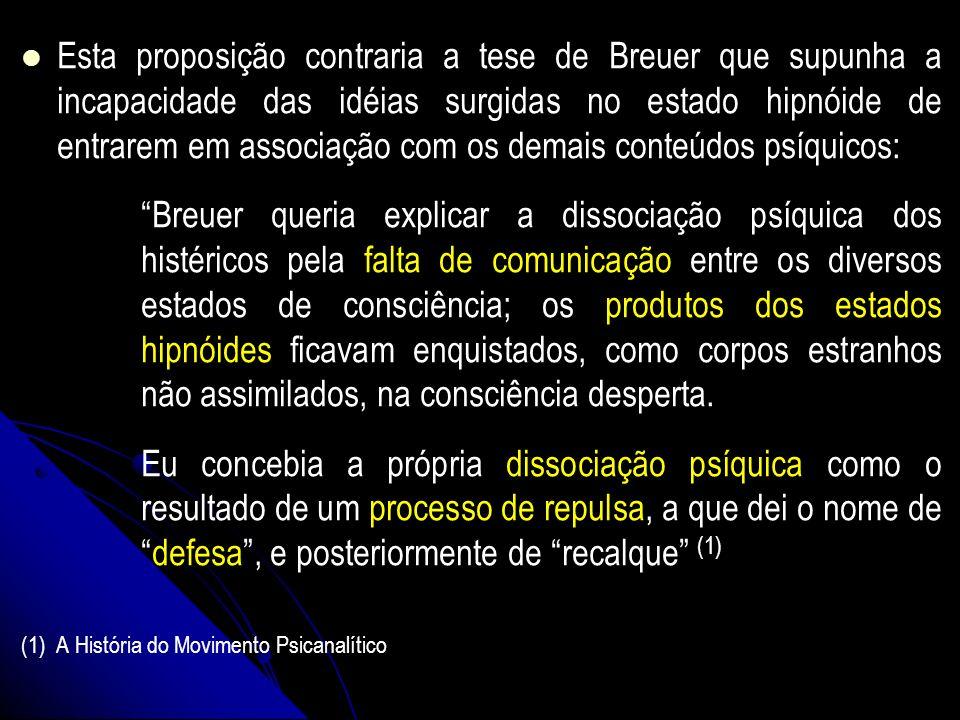 Esta proposição contraria a tese de Breuer que supunha a incapacidade das idéias surgidas no estado hipnóide de entrarem em associação com os demais c