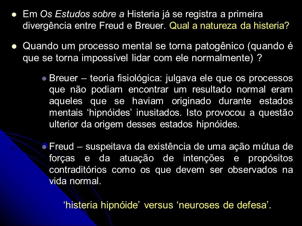 Em Os Estudos sobre a Histeria já se registra a primeira divergência entre Freud e Breuer. Qual a natureza da histeria? Quando um processo mental se t