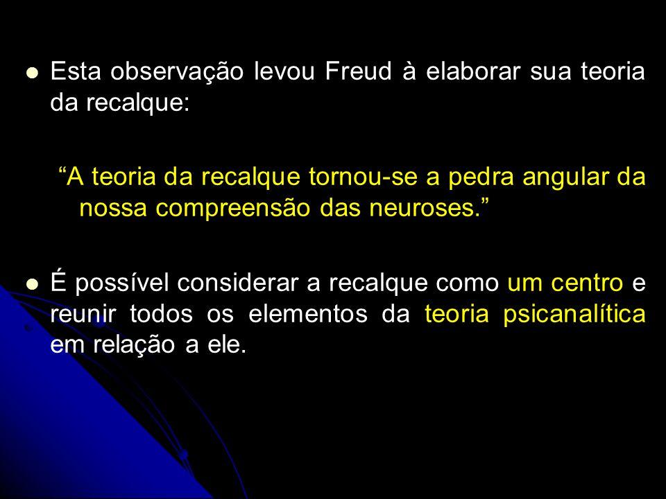 Esta observação levou Freud à elaborar sua teoria da recalque: A teoria da recalque tornou-se a pedra angular da nossa compreensão das neuroses. É pos
