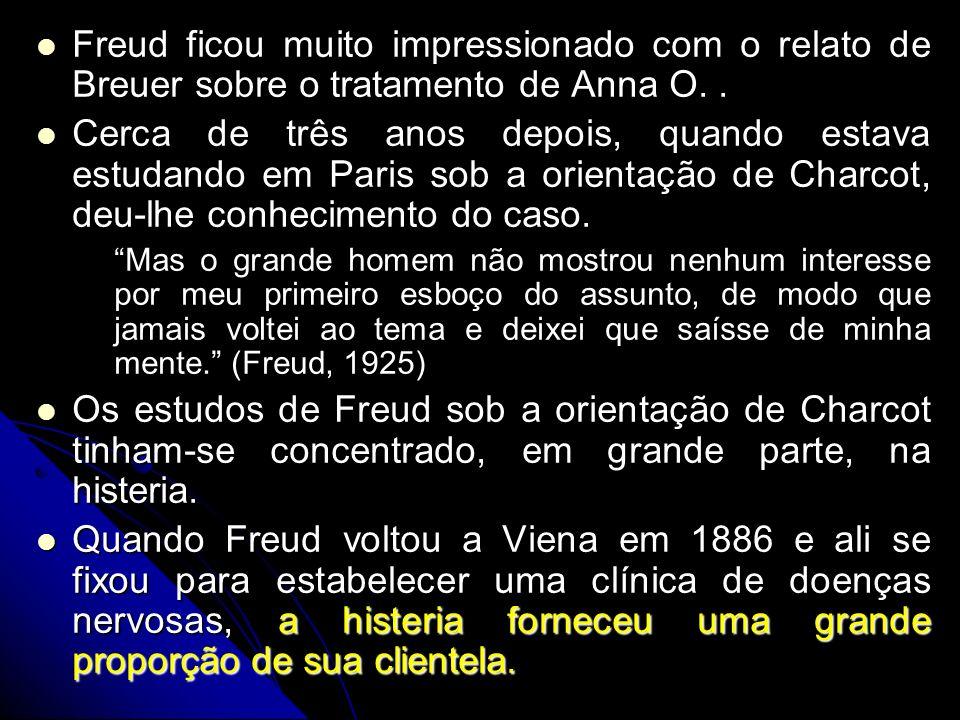 Freud ficou muito impressionado com o relato de Breuer sobre o tratamento de Anna O.. Freud ficou muito impressionado com o relato de Breuer sobre o t