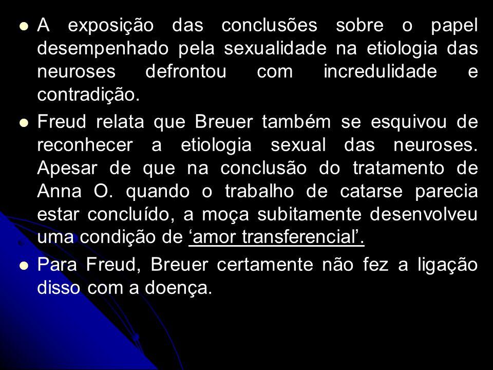 A exposição das conclusões sobre o papel desempenhado pela sexualidade na etiologia das neuroses defrontou com incredulidade e contradição. Freud rela