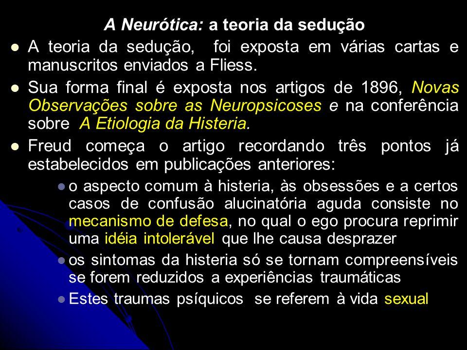 A Neurótica: a teoria da sedução A teoria da sedução, foi exposta em várias cartas e manuscritos enviados a Fliess. Sua forma final é exposta nos arti