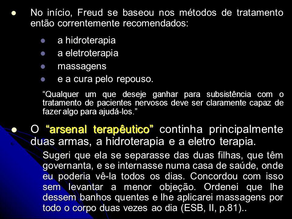 No início, Freud se baseou nos métodos de tratamento então correntemente recomendados: No início, Freud se baseou nos métodos de tratamento então corr