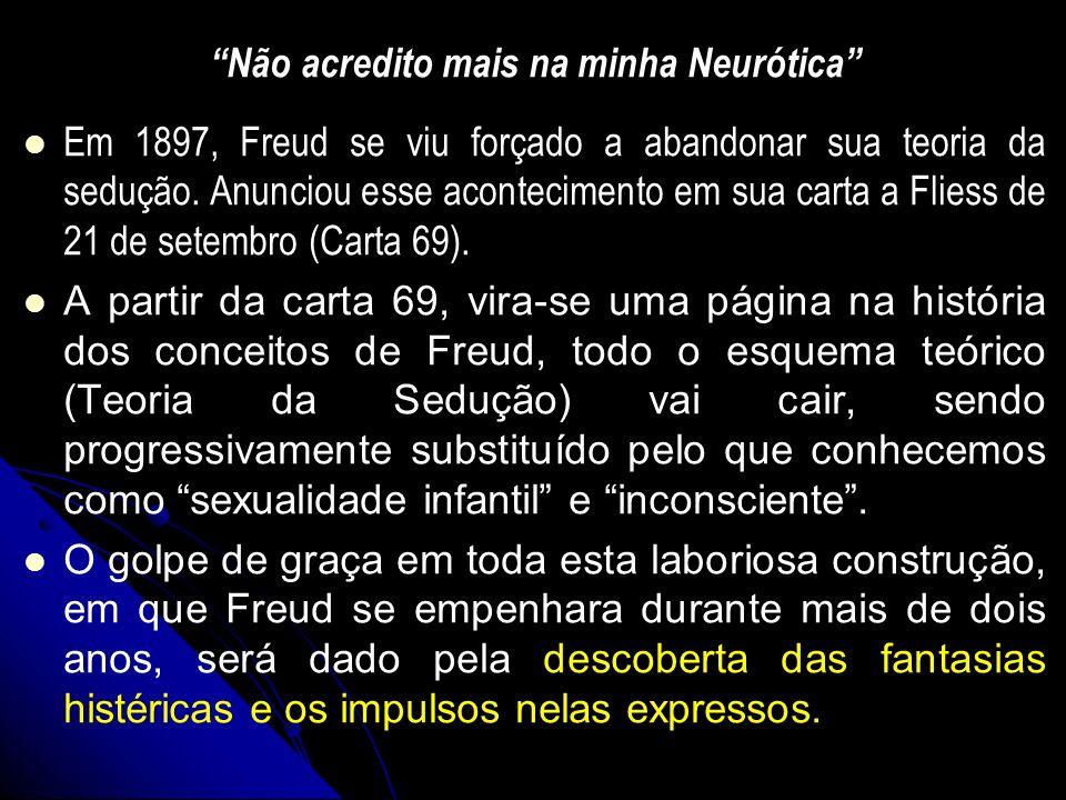 Não acredito mais na minha Neurótica Em 1897, Freud se viu forçado a abandonar sua teoria da sedução. Anunciou esse acontecimento em sua carta a Flies