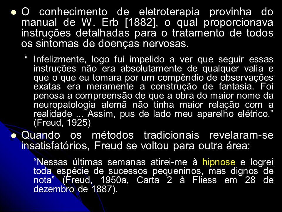 As razões que o levaram a isto são: 1) 1) nem todos os pacientes eram hipnotizáveis, embora manifestassem claramente sintomas histéricos; 2) 2) estava ansioso por não ficar restringido ao tratamento de condições histeriformes; 3) 3) era preciso descobrir exatamente o que caracterizava a histeria, e em que ela diferia das outras neuroses; 4) 4) dúvidas quanto ao fator essencial na eficácia do método do hipnotismo: