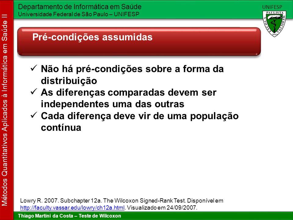 Thiago Martini da Costa – Teste de Wilcoxon Departamento de Informática em Saúde Universidade Federal de São Paulo – UNIFESP UNIFESP Métodos Quantitativos Aplicados à Informática em Saúde II Procedimento para executar o teste Lowry R.