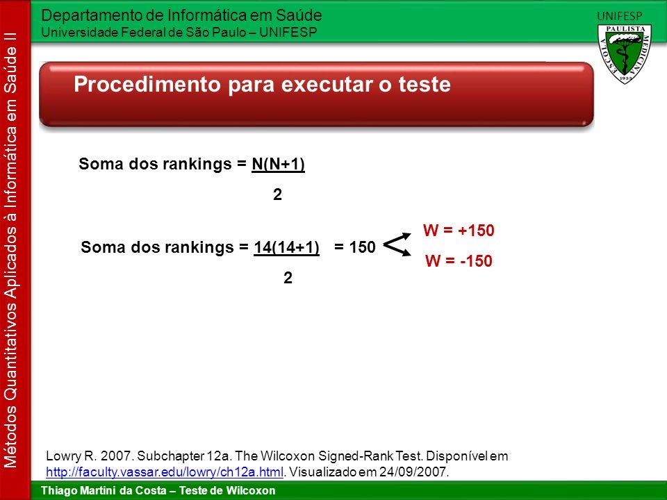 Thiago Martini da Costa – Teste de Wilcoxon Departamento de Informática em Saúde Universidade Federal de São Paulo – UNIFESP UNIFESP Métodos Quantitativos Aplicados à Informática em Saúde II Procedimento para executar o teste RankW +1+2+3+6 +2+3+4 +1-2+3+2 +1+2-30 -2+30 +2-3-2 +1-2-3-4 -2-3-6 Soma dos rankings = 3(3+1) = 6 2 Lowry R.