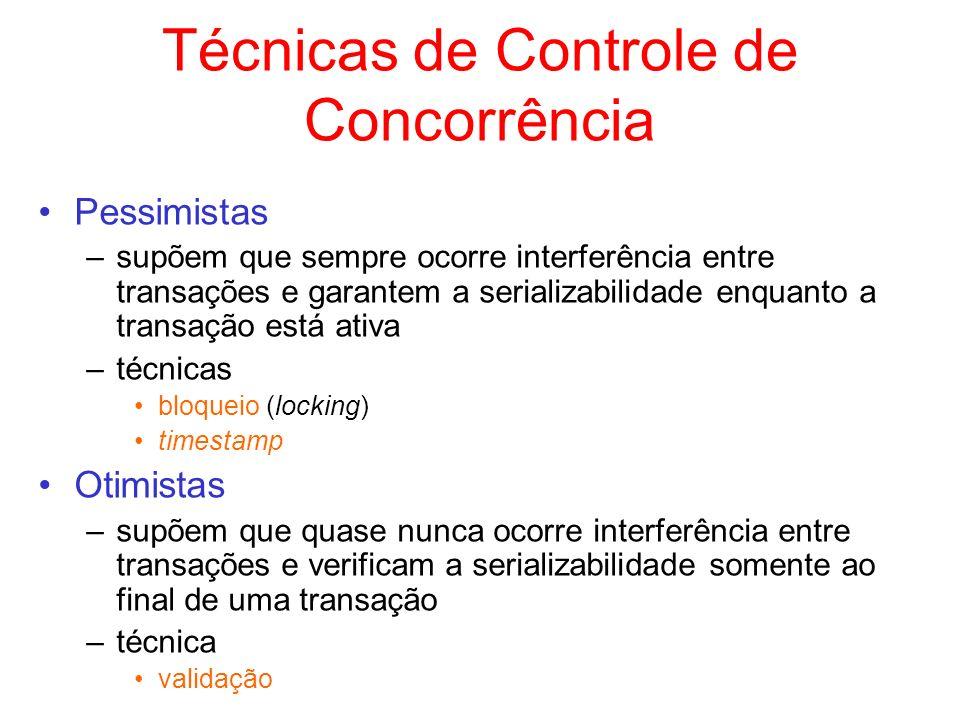 Técnicas de Controle de Concorrência Pessimistas –supõem que sempre ocorre interferência entre transações e garantem a serializabilidade enquanto a tr