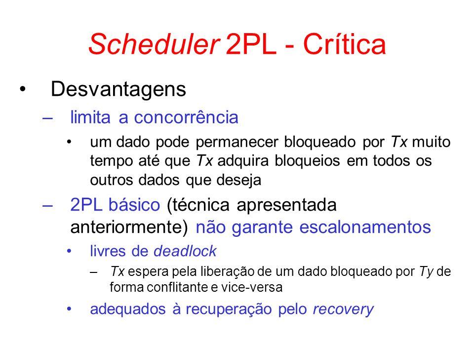 Scheduler 2PL - Crítica Desvantagens –limita a concorrência um dado pode permanecer bloqueado por Tx muito tempo até que Tx adquira bloqueios em todos