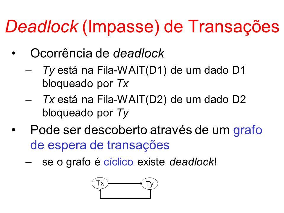 Deadlock (Impasse) de Transações Ocorrência de deadlock –Ty está na Fila-WAIT(D1) de um dado D1 bloqueado por Tx –Tx está na Fila-WAIT(D2) de um dado