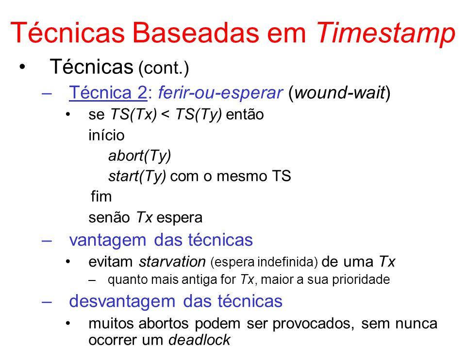 Técnicas Baseadas em Timestamp Técnicas (cont.) –Técnica 2: ferir-ou-esperar (wound-wait) se TS(Tx) < TS(Ty) então início abort(Ty) start(Ty) com o me