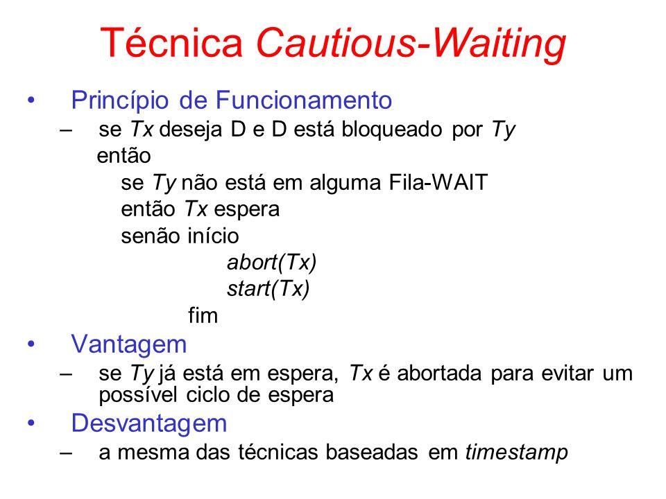 Técnica Cautious-Waiting Princípio de Funcionamento –se Tx deseja D e D está bloqueado por Ty então se Ty não está em alguma Fila-WAIT então Tx espera
