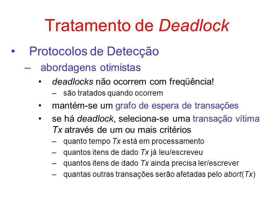 Tratamento de Deadlock Protocolos de Detecção –abordagens otimistas deadlocks não ocorrem com freqüência! –são tratados quando ocorrem mantém-se um gr