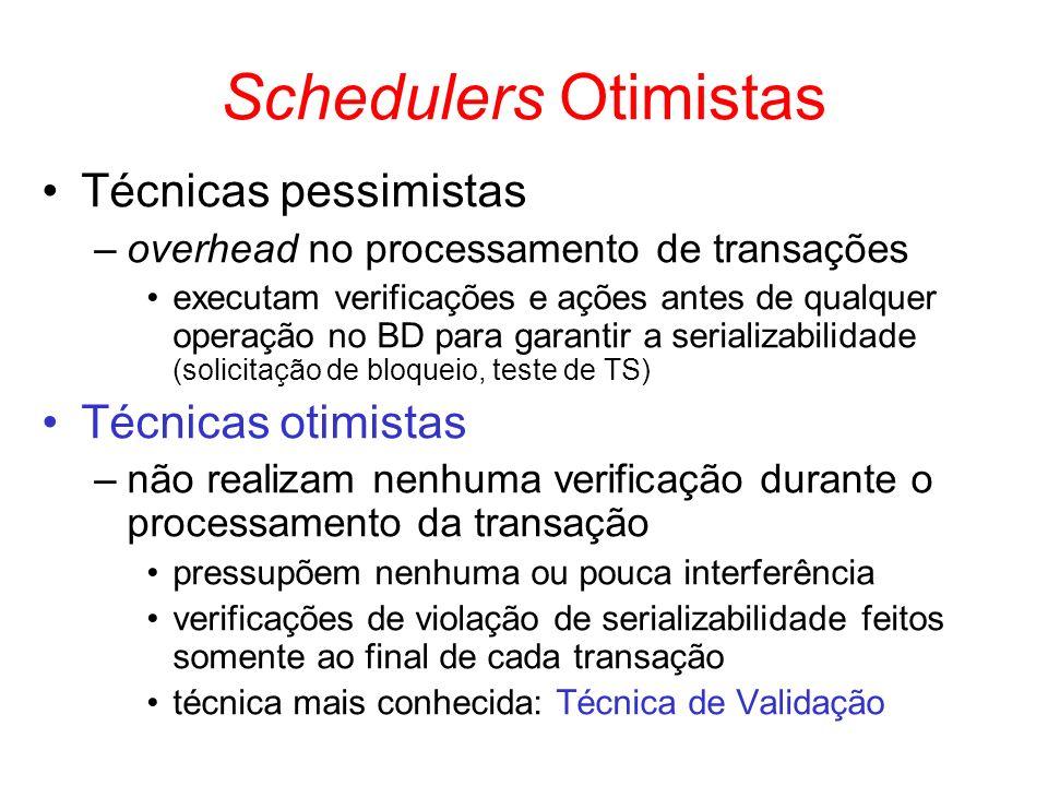 Schedulers Otimistas Técnicas pessimistas –overhead no processamento de transações executam verificações e ações antes de qualquer operação no BD para