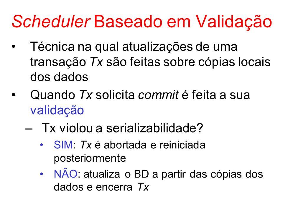 Scheduler Baseado em Validação Técnica na qual atualizações de uma transação Tx são feitas sobre cópias locais dos dados Quando Tx solicita commit é f