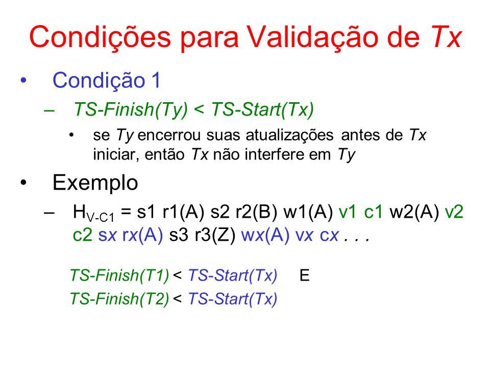 Condições para Validação de Tx Condição 1 –TS-Finish(Ty) < TS-Start(Tx) se Ty encerrou suas atualizações antes de Tx iniciar, então Tx não interfere e