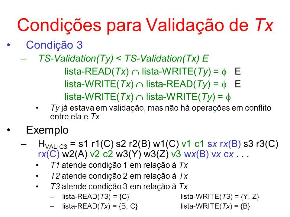 Condições para Validação de Tx Condição 3 –TS-Validation(Ty) < TS-Validation(Tx) E lista-READ(Tx) lista-WRITE(Ty) = E lista-WRITE(Tx) lista-READ(Ty) =