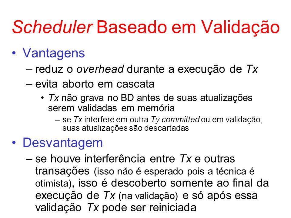 Scheduler Baseado em Validação Vantagens –reduz o overhead durante a execução de Tx –evita aborto em cascata Tx não grava no BD antes de suas atualiza