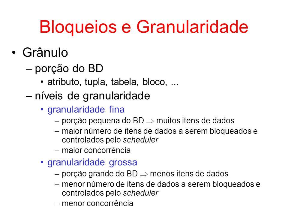 Bloqueios e Granularidade Grânulo –porção do BD atributo, tupla, tabela, bloco,... –níveis de granularidade granularidade fina –porção pequena do BD m