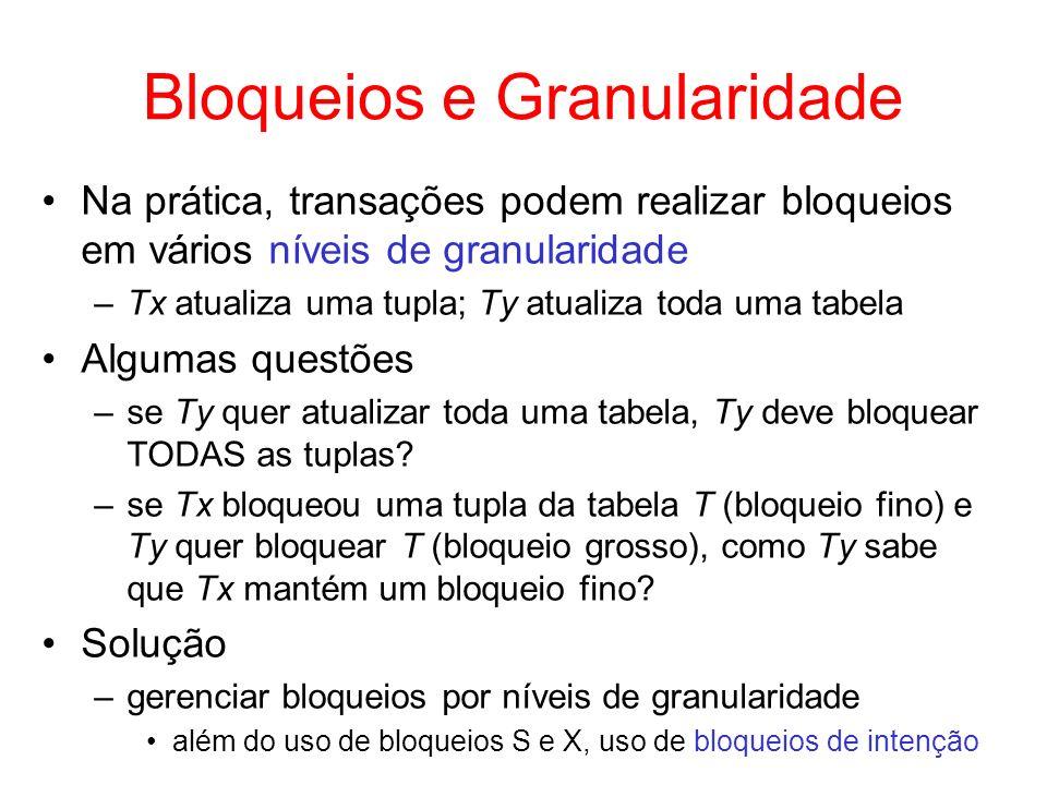 Bloqueios e Granularidade Na prática, transações podem realizar bloqueios em vários níveis de granularidade –Tx atualiza uma tupla; Ty atualiza toda u