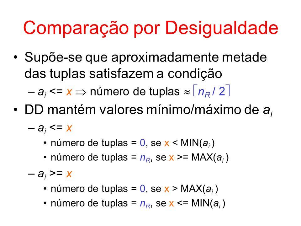 Comparação por Desigualdade Supõe-se que aproximadamente metade das tuplas satisfazem a condição –a i <= x número de tuplas n R / 2 DD mantém valores