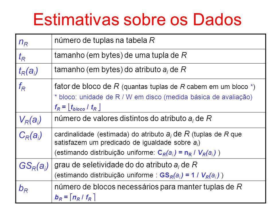 Índice Temporário - Exemplo R S c1 s1,..., sm r1,..., rn n S = 10.000 b S = 5.000 n R = 15.000 b R = 7000 Avaliando custo de criação de índice árvore-B sobre o resultado de R –supondo que o atributo de junção em R é chave, deve-se indexar 15.000 dados –supondo que se consegue um máximo de f I = 55 nodos, com N = 50 valores, temos: nível 0 indexa 50 valores nível 1 indexa 51x50 = 2.550 valores nível 2 indexa 51x51x50 = 130.050 valores (máximo 3 níveis na árvore-B) se f I = 55, o primeiro nível (1 nodo) e o segundo nível (51 nodos) da árvore podem ficar em um bloco e os restantes em outros blocos.