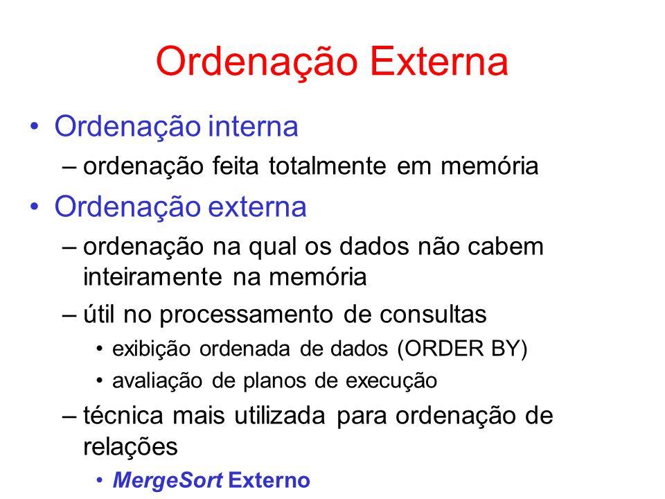 Ordenação Externa Ordenação interna –ordenação feita totalmente em memória Ordenação externa –ordenação na qual os dados não cabem inteiramente na mem