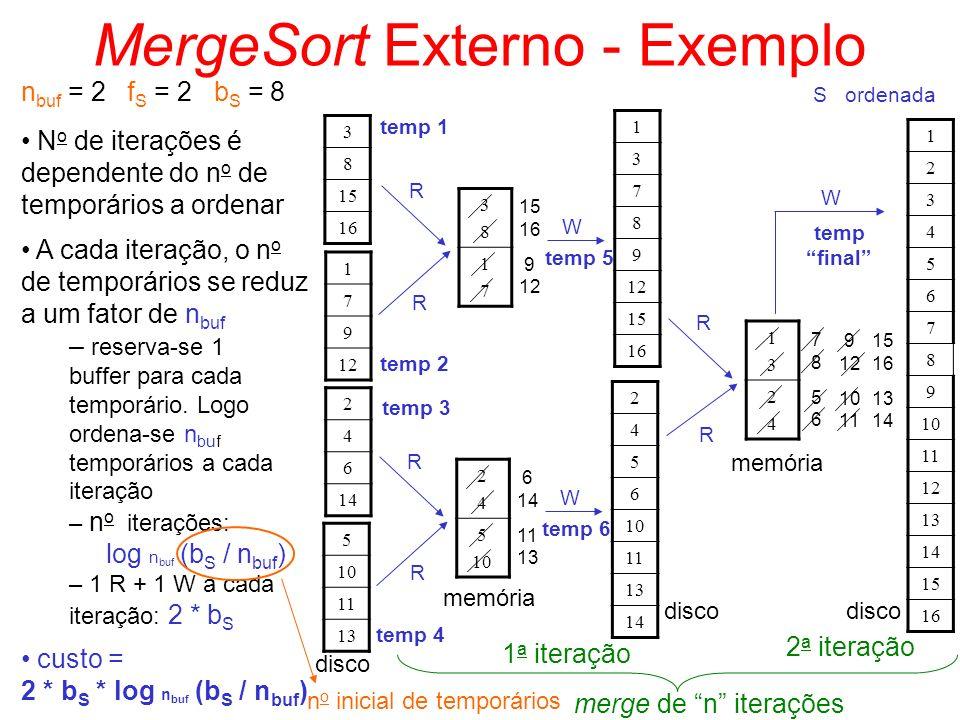 MergeSort Externo - Exemplo n buf = 2 f S = 2 b S = 8 3 8 15 16 1 7 9 12 2 4 6 14 5 10 11 13 disco 3838 1717 R R 15 16 9 12 W temp 5 1 3 7 8 9 12 15 1