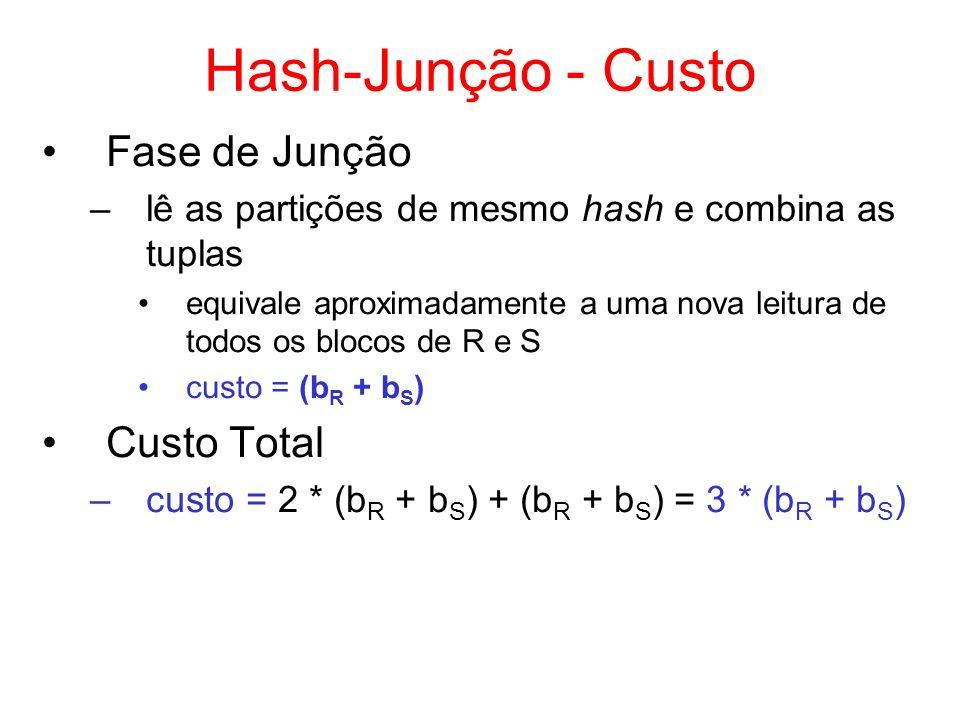 Hash-Junção - Custo Fase de Junção –lê as partições de mesmo hash e combina as tuplas equivale aproximadamente a uma nova leitura de todos os blocos d