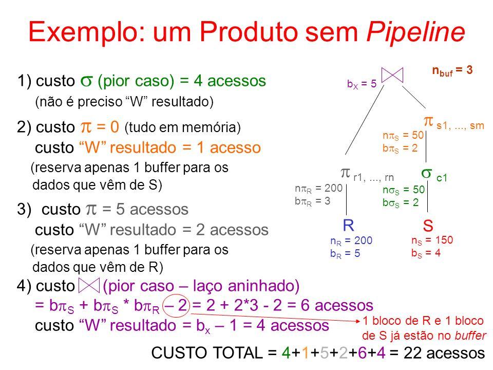 Exemplo: um Produto sem Pipeline R S c1 s1,..., sm r1,..., rn n S = 150 b S = 4 n R = 200 b R = 5 n S = 50 b S = 2 n S = 50 b S = 2 n R = 200 b R = 3