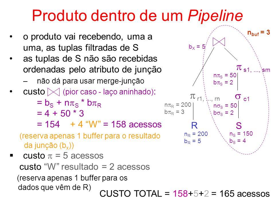 o produto vai recebendo, uma a uma, as tuplas filtradas de S as tuplas de S não são recebidas ordenadas pelo atributo de junção –não dá para usar merg