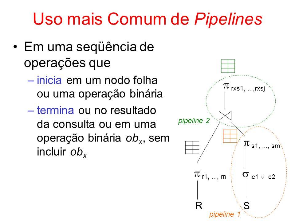 Uso mais Comum de Pipelines Em uma seqüência de operações que –inicia em um nodo folha ou uma operação binária –termina ou no resultado da consulta ou
