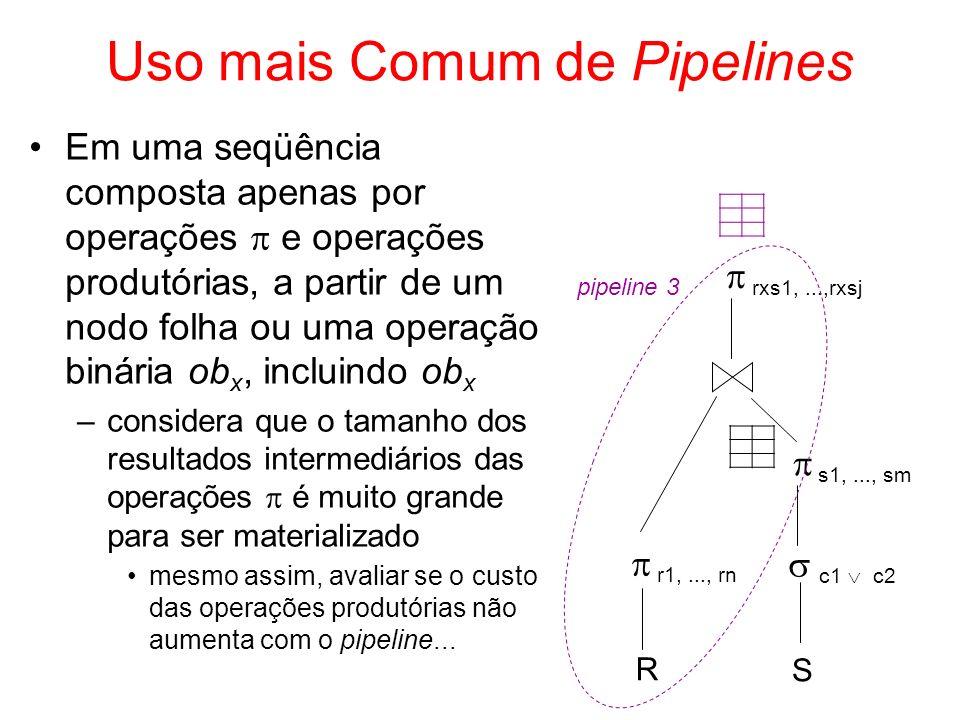 Uso mais Comum de Pipelines Em uma seqüência composta apenas por operações e operações produtórias, a partir de um nodo folha ou uma operação binária