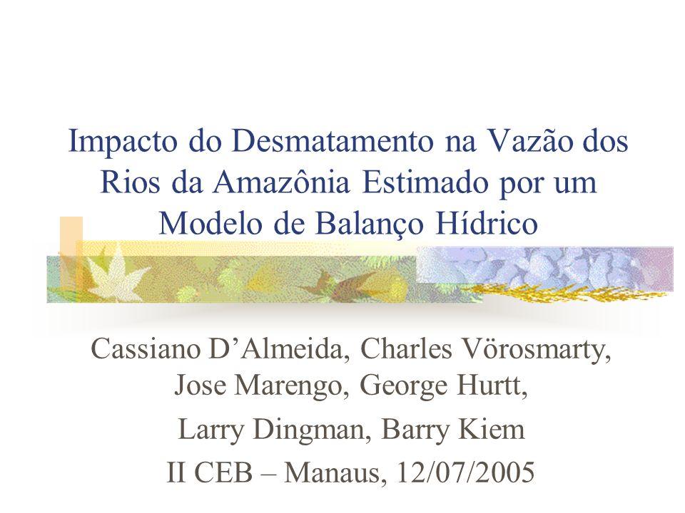 Apresentação Motivação Modelo de Balanço Hídrico Cenários simulados Comparação com séries históricas Conclusões