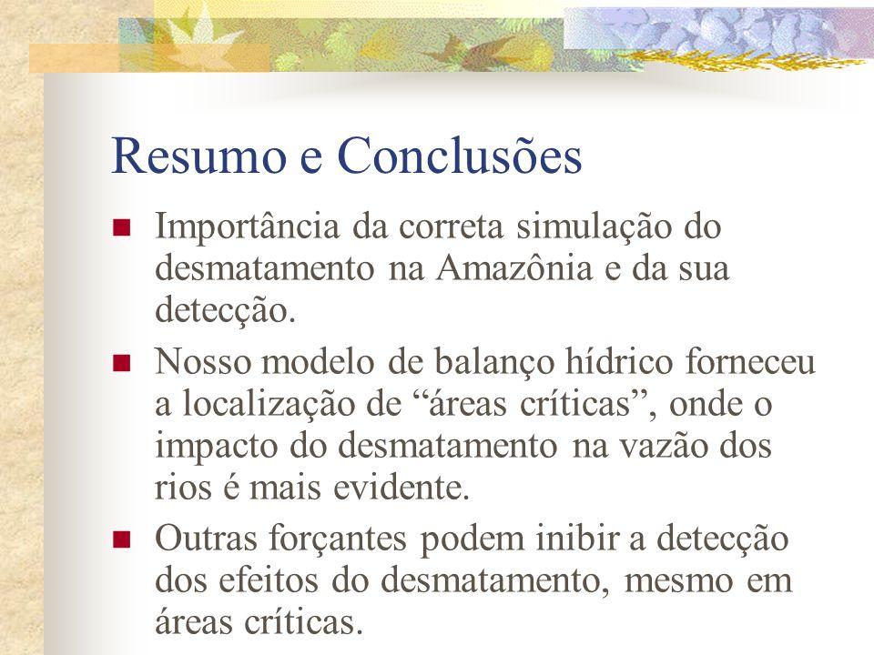 Resumo e Conclusões Importância da correta simulação do desmatamento na Amazônia e da sua detecção. Nosso modelo de balanço hídrico forneceu a localiz