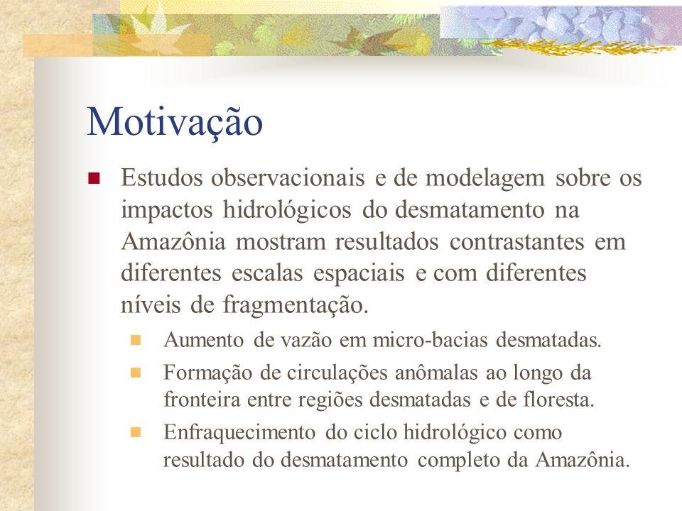 Motivação Estudos observacionais e de modelagem sobre os impactos hidrológicos do desmatamento na Amazônia mostram resultados contrastantes em diferen