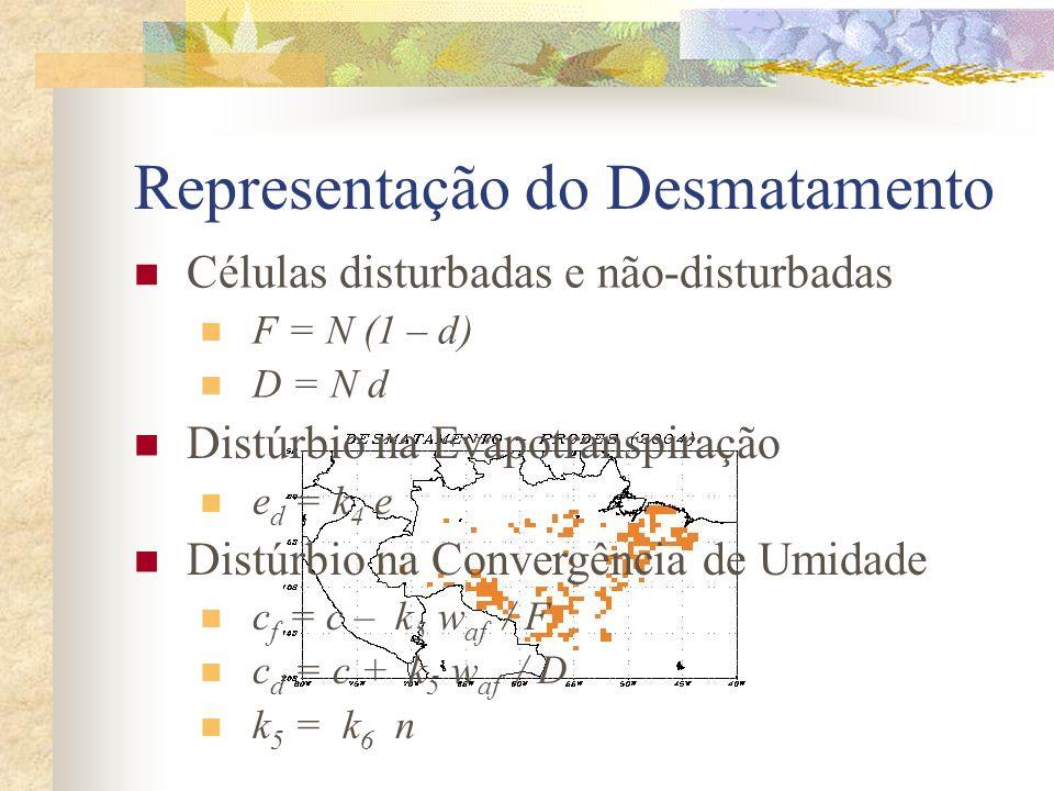 Representação do Desmatamento Células disturbadas e não-disturbadas F = N (1 – d) D = N d Distúrbio na Evapotranspiração e d = k 4 e Distúrbio na Conv