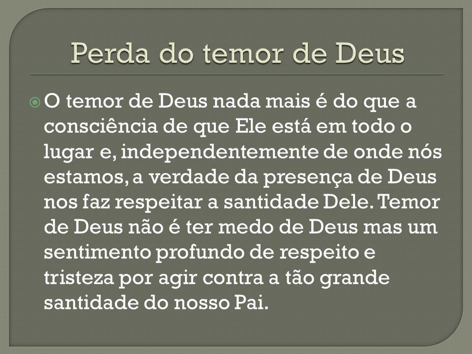 O temor de Deus nada mais é do que a consciência de que Ele está em todo o lugar e, independentemente de onde nós estamos, a verdade da presença de De