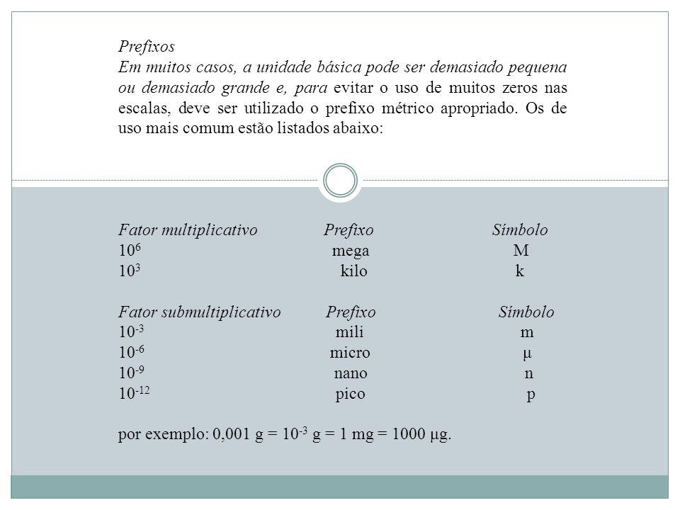 Prefixos Em muitos casos, a unidade básica pode ser demasiado pequena ou demasiado grande e, para evitar o uso de muitos zeros nas escalas, deve ser u