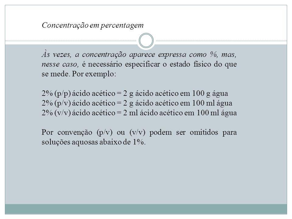 Concentração em percentagem Às vezes, a concentração aparece expressa como %, mas, nesse caso, é necessário especificar o estado físico do que se mede