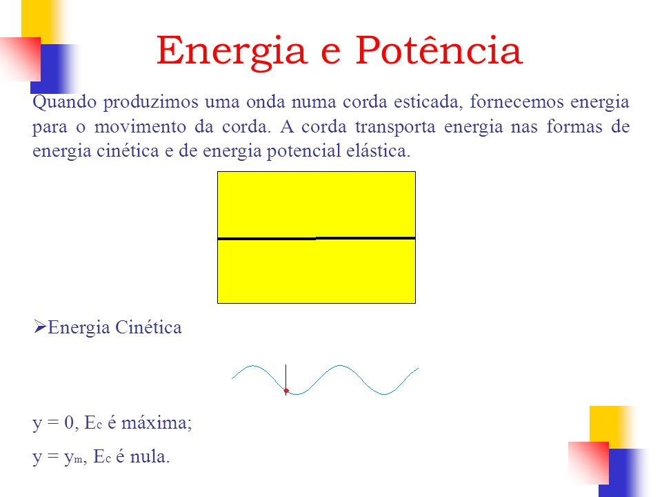 Energia e Potência Quando produzimos uma onda numa corda esticada, fornecemos energia para o movimento da corda. A corda transporta energia nas formas