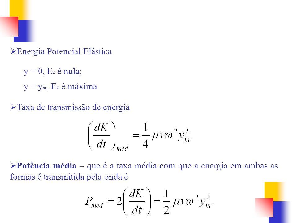 Energia Potencial Elástica y = 0, E c é nula; y = y m, E c é máxima. Taxa de transmissão de energia Potência média – que é a taxa média com que a ener