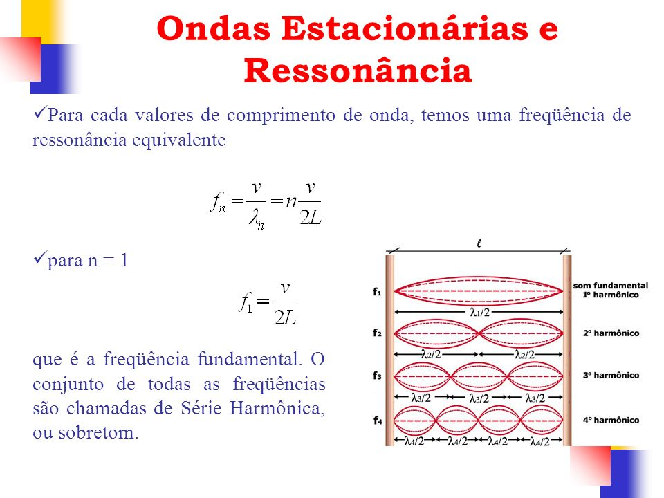 Ondas Estacionárias e Ressonância Para cada valores de comprimento de onda, temos uma freqüência de ressonância equivalente para n = 1 que é a freqüên