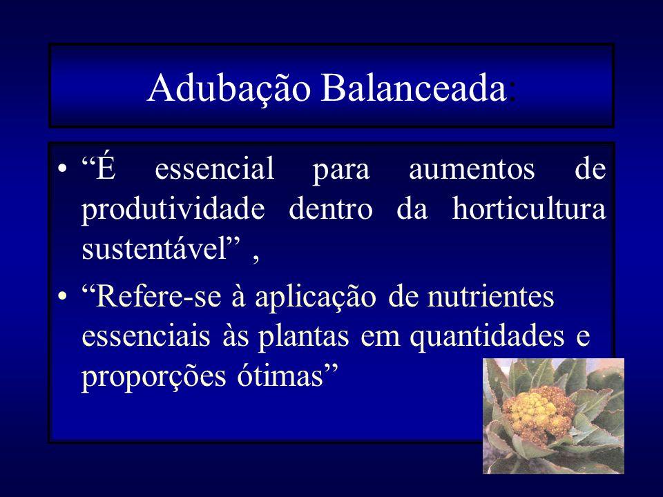 Em relação às plantas, existe uma relação ideal entre os nutrientes nas folhas para a produção. Exemplo comparativo nº 1 Teor foliar: Para as brássica