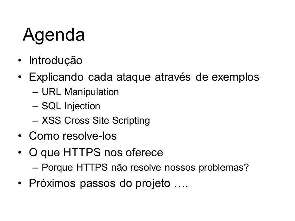 Cross Site Scripting (XSS) Esta vulnerabilidade tira vantagens de sites que não fazem o tratamento dos dados de entrada.