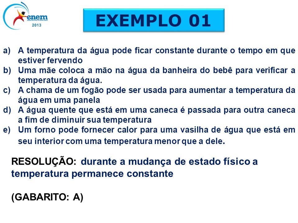 EXEMPLO 01 a)A temperatura da água pode ficar constante durante o tempo em que estiver fervendo b)Uma mãe coloca a mão na água da banheira do bebê par