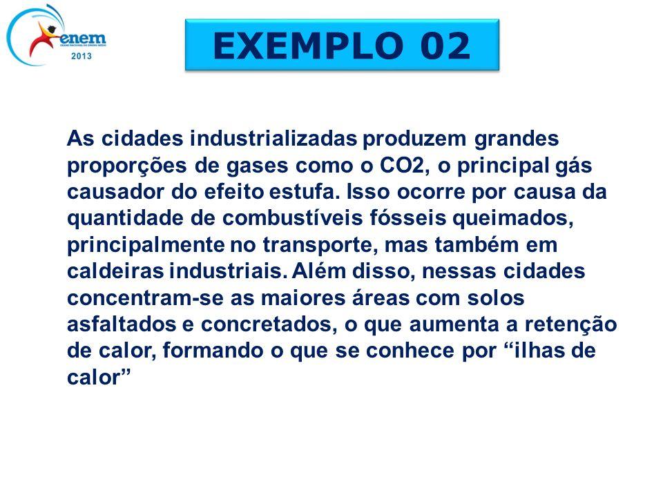 As cidades industrializadas produzem grandes proporções de gases como o CO2, o principal gás causador do efeito estufa. Isso ocorre por causa da quant