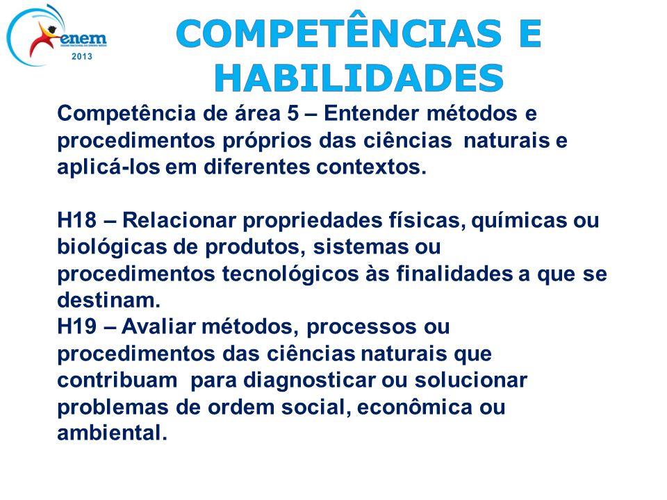 Competência de área 5 – Entender métodos e procedimentos próprios das ciências naturais e aplicá-los em diferentes contextos. H18 – Relacionar proprie